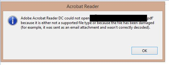 Adobe Acrobat Reader DC can't open pdf