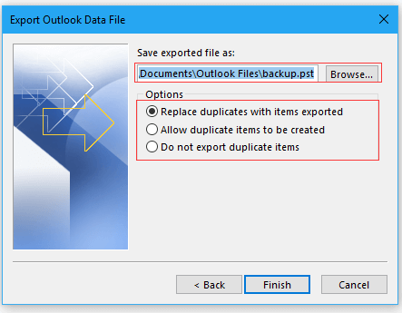 choose location and begin export