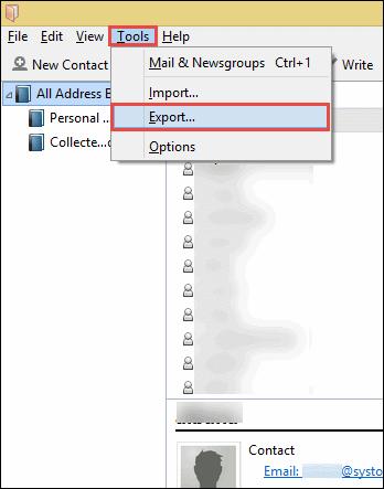 Mozilla thunderbird address book export