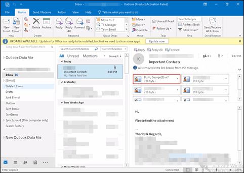 Save vCard From Email to Outlook Contacts - Perfect Solution