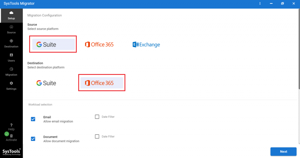 set g suite and outlook 365