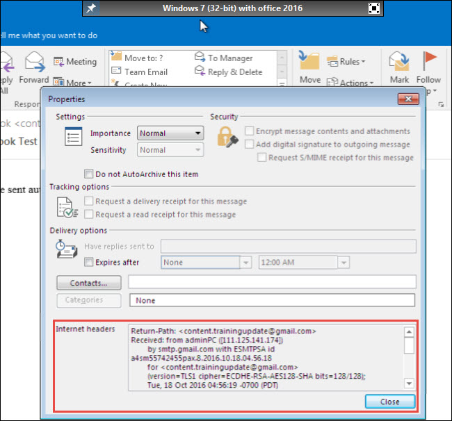Examine Email Headers of Outlook PST Email Message