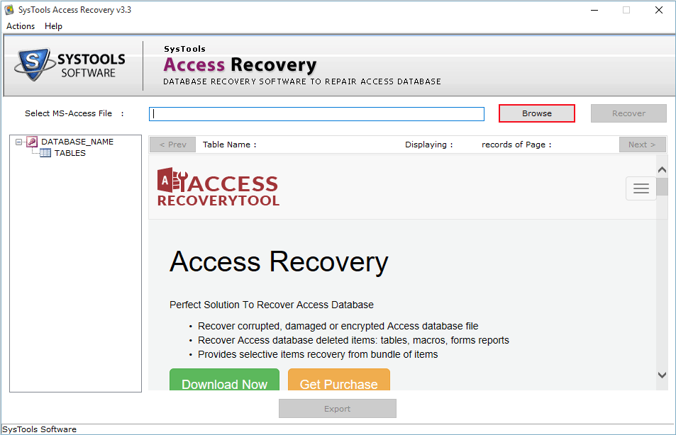 browse access database file