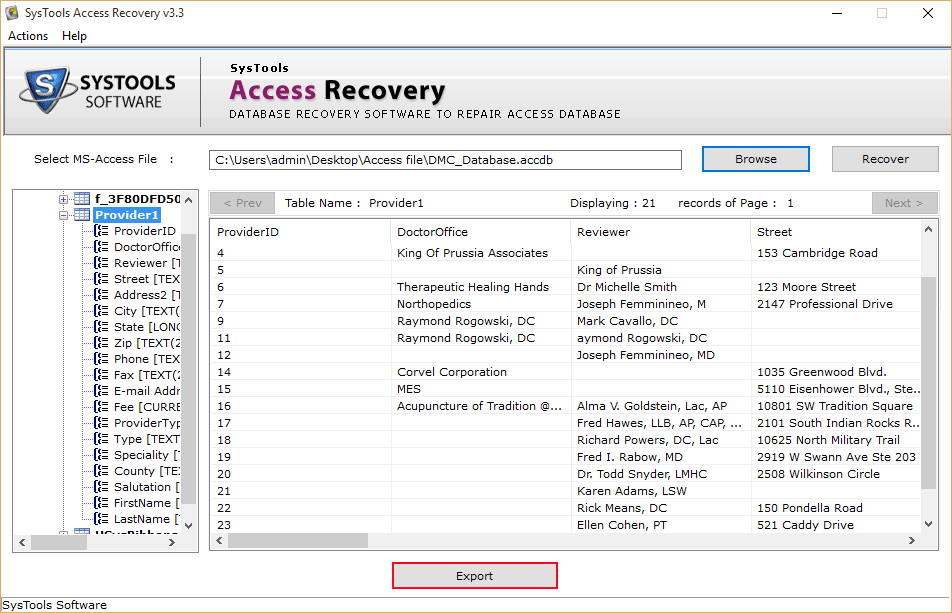 export restored Access file