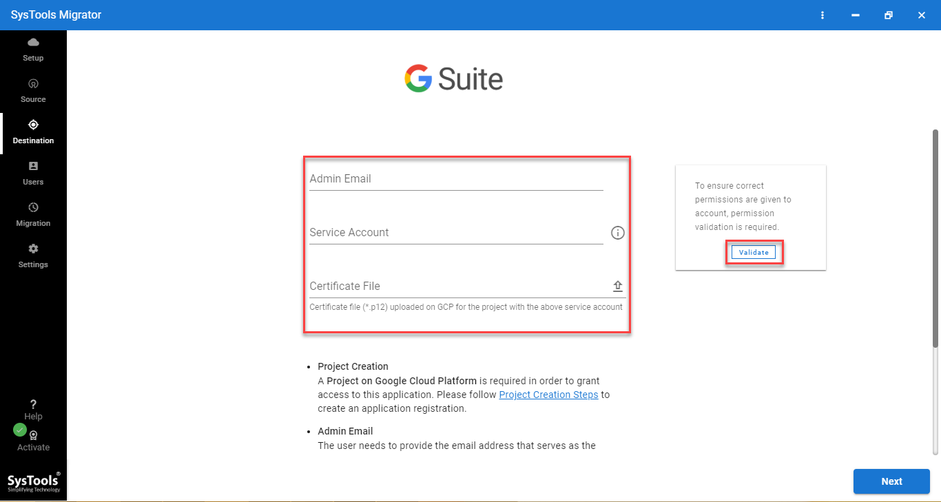 g suite credentails