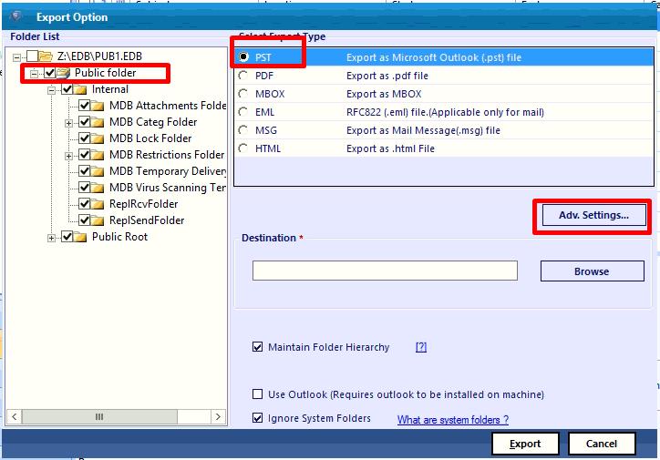 select EDB public folder