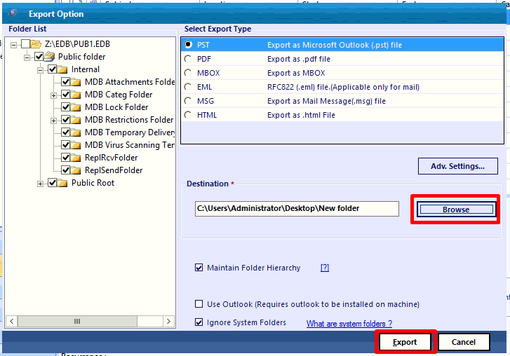 set target file location and click export